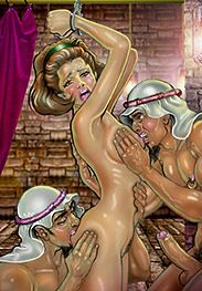She gasped in pain as the men bit her hard on the buttocks and breasts - Female pow by Roscoe